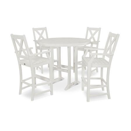 Braxton 5-Piece Nautical Trestle Arm Chair Bar Set in White