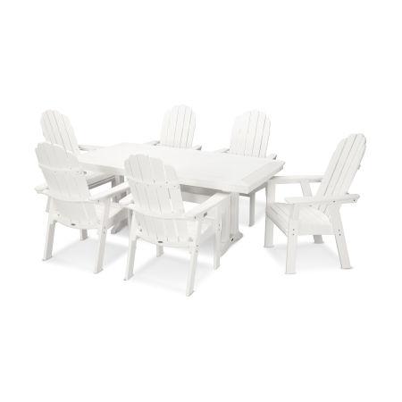 Vineyard Adirondack 7-Piece Nautical Trestle Dining Set in White
