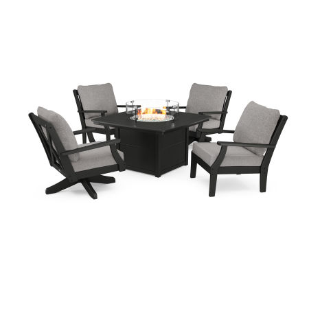 Braxton 5-Piece Deep Seating Set with Fire Table in Black / Grey Mist