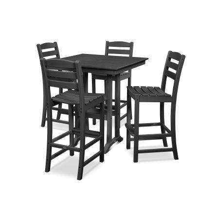 La Casa Café 5-Piece Farmhouse Bar Set in Black