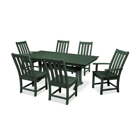 Vineyard 7-Piece Farmhouse Dining Set in Green