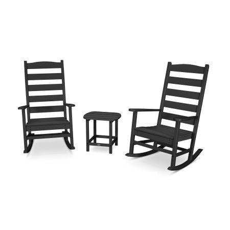 Shaker 3-Piece Porch Rocking Chair Set in Black