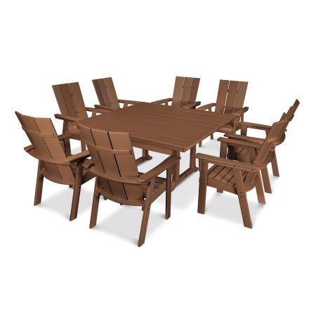 Modern Adirondack 9-Piece Farmhouse Dining Set in Teak