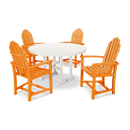 Classic Adirondack Dining 5-Piece Set in Tangerine / White