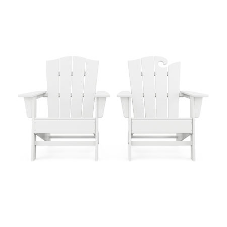 Wave 2-Piece Adirondack Chair Set with The Crest Chair in White