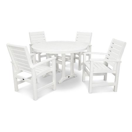 Signature 5-Piece Nautical Trestle Dining Set in White