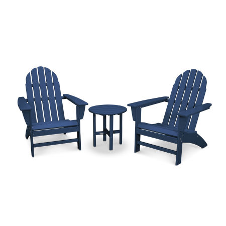 Vineyard 3-Piece Adirondack Set in Navy