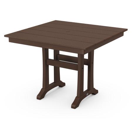"""Farmhouse Trestle 37"""" Dining Table in Mahogany"""