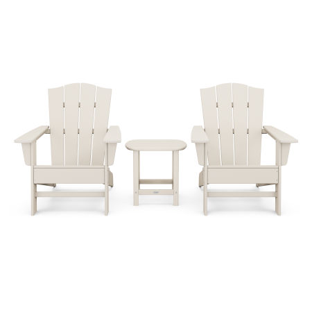 Wave 3-Piece Adirondack Chair Set with The Crest Chairs in Sand