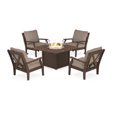 Braxton 5-Piece Deep Seating Conversation Set with Fire Pit Table in Mahogany / Spiced Burlap