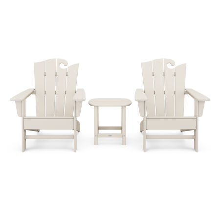 Wave 3-Piece Adirondack Set with The Ocean Chair in Sand