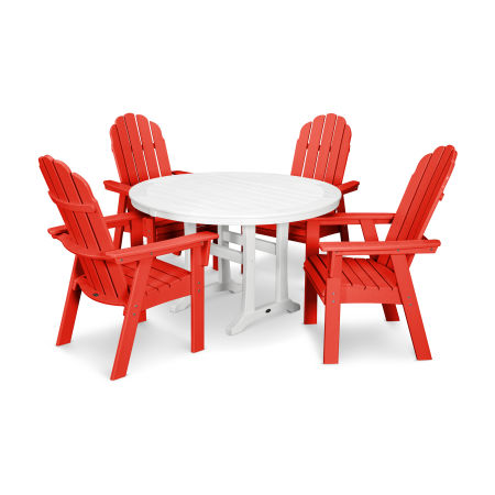 Vineyard Adirondack 5-Piece Nautical Trestle Dining Set in Sunset Red / White