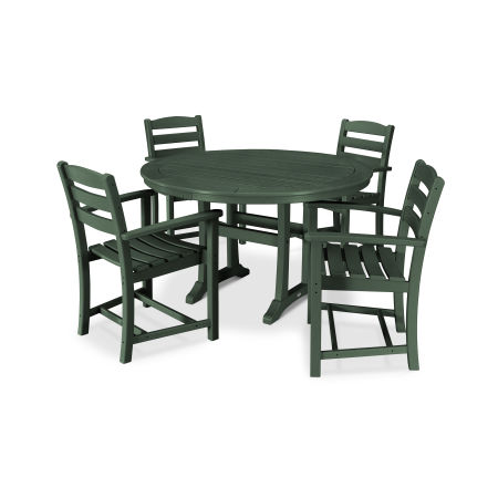 La Casa Café 5 Piece Arm Chair Dining Set in Green