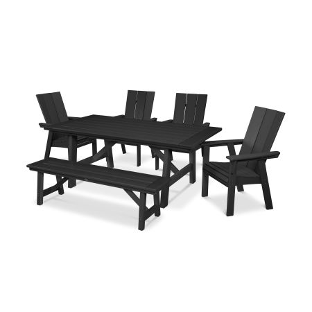 Modern Adirondack 6-Piece Rustic Farmhouse Dining Set with Bench in Black