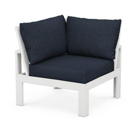 Modular Corner Chair in White / Marine Indigo