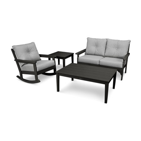 Vineyard 4-Piece Deep Seating Rocking Chair Set in Black / Canvas Granite