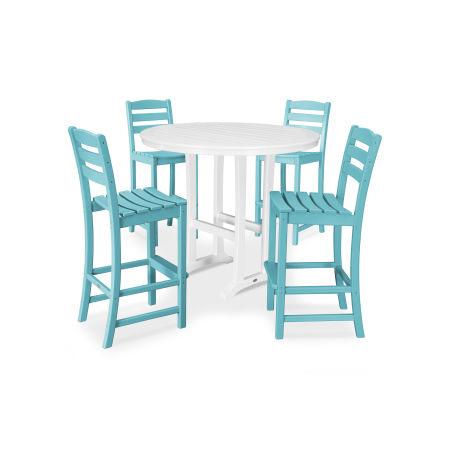 La Casa Café 5 Piece Side Chair Bar Dining Set in Aruba