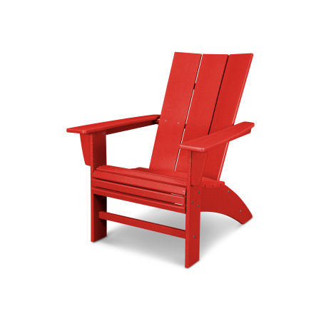 Modern Curveback Adirondack in Vintage Sunset Red