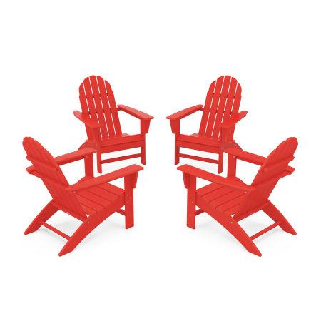 Vineyard 4-Piece Adirondack Conversation Set in Sunset Red