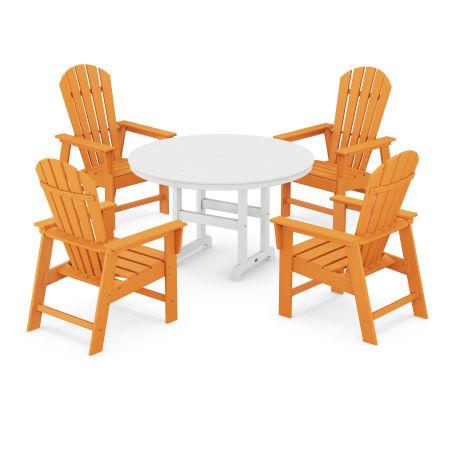 South Beach 5-Piece Dining Set in Tangerine / White