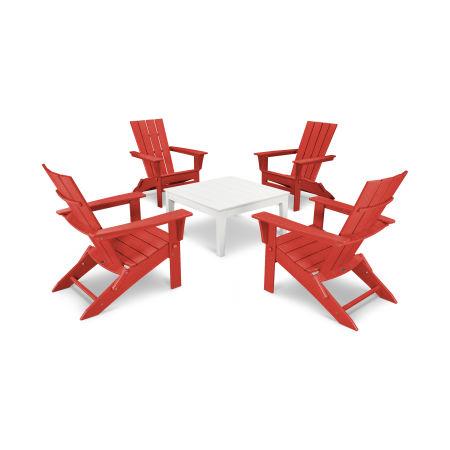 Quattro 5-Piece Conversation Set  in Sunset Red