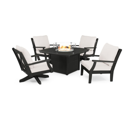 Braxton 5-Piece Deep Seating Set with Fire Table in Black / Bird's Eye