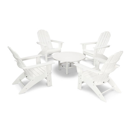 Vineyard 5-Piece Curveback Adirondack Set in White