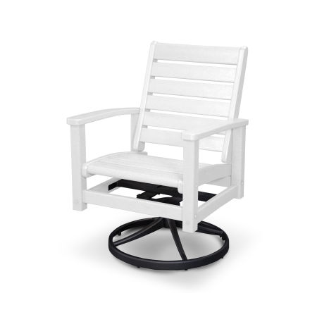 Signature Swivel Rocking Chair in Textured Black / White
