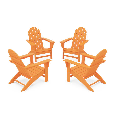 Vineyard 4-Piece Adirondack Conversation Set in Tangerine