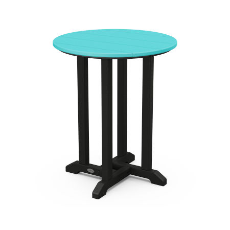 """24"""" Round Dining Table in Black Frame / Aruba"""