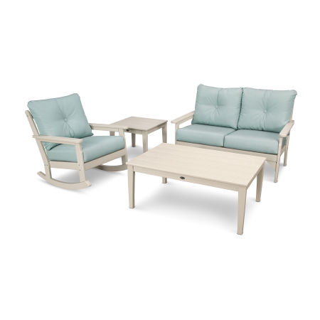 Vineyard 4-Piece Deep Seating Rocking Chair Set in Sand / Spa
