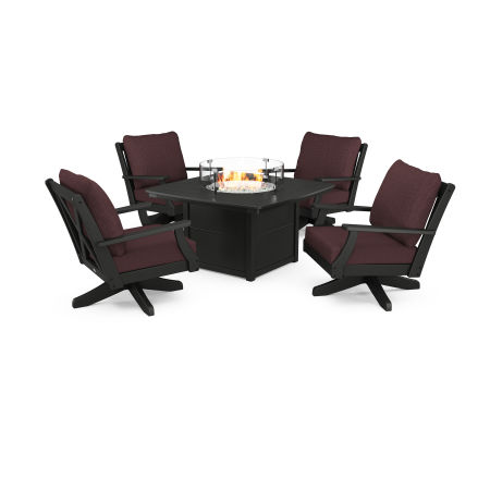 Braxton 5-Piece Deep Seating Swivel Conversation Set with Fire Pit Table in Black / Cast Currant