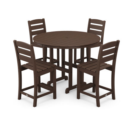 Lakeside 5-Piece Round Counter Side Chair Set in Mahogany