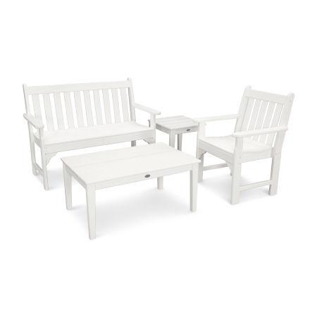 Vineyard 4-Piece Bench Seating Set in Vintage White