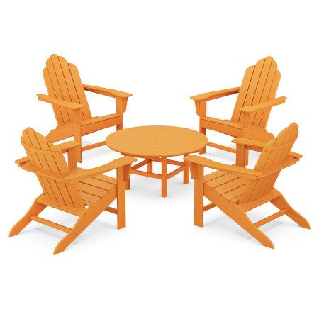Long Island Adirondack 5-Piece Conversation Group in Tangerine
