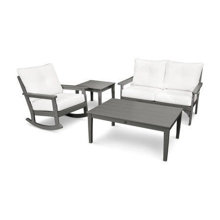 Vineyard 4-Piece Deep Seating Rocking Chair Set in Slate Grey / Natural