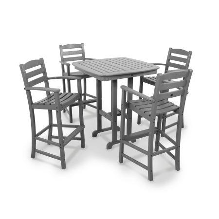 La Casa Café 5-Piece Bar Set in Slate Grey