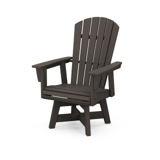 Nautical Curveback Adirondack Swivel Dining Chair in Vintage Finish