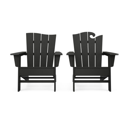 Wave 2-Piece Adirondack Set with The Wave Chair Left in Black