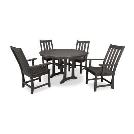 Vineyard 5-Piece Nautical Trestle Dining Set in Vintage Finish