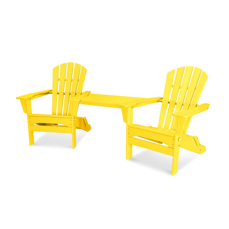 Palm Coast Folding Adirondack Tête-à-Tête Set in Lemon
