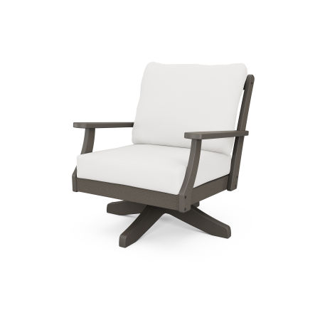 Braxton Deep Seating Swivel Chair in Vintage Finish