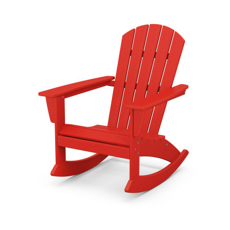 Nautical Adirondack Rocking Chair in Sunset Red