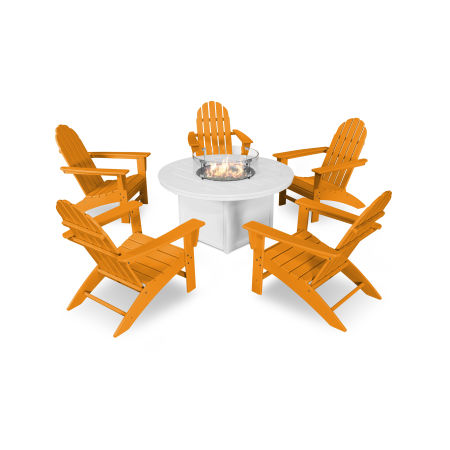 Vineyard Adirondack 6-Piece Chat Set with Fire Pit Table in Tangerine