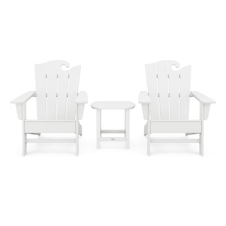 Wave 3-Piece Adirondack Set with The Ocean Chair in White