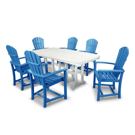 Palm Coast 7-Piece Dining Set in Pacific Blue / White