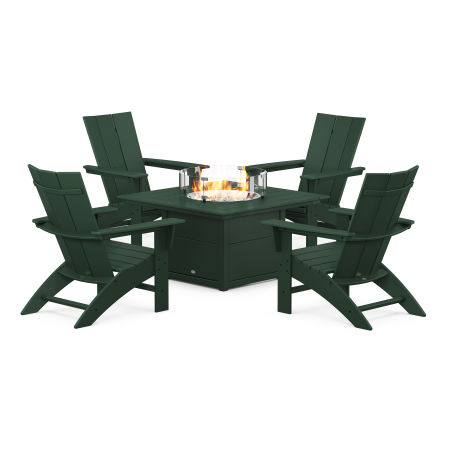 Modern Curveback Adirondack 5-Piece Conversation Set with Fire Pit Table in Green