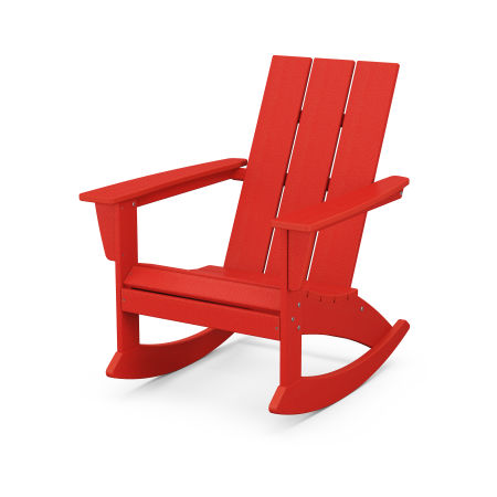 Modern Adirondack Rocking Chair in Sunset Red
