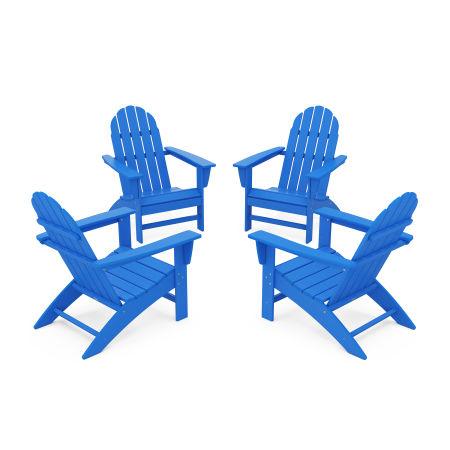 Vineyard 4-Piece Adirondack Conversation Set in Pacific Blue