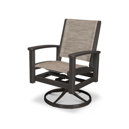 Coastal Swivel Rocker in Satin Bronze / Vintage Coffee / Onyx Sling
